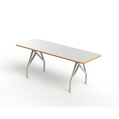 Hot Spot Bar Height Rectangular Conference Table Top Finish: White Matte/Tangerine, Size: 40 H x 36 W x 84 D