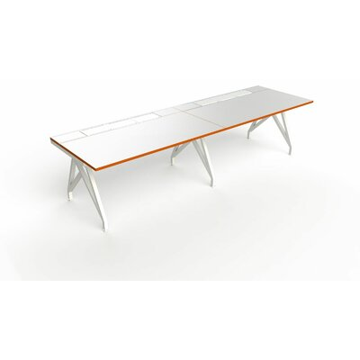 Eyhov Rail Duo Open Workstation Finish: Matte White/Tangerine