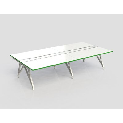Eyhov Rail Quad Open Workstation Finish: Matte White/Scale Green