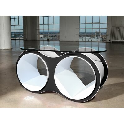 BOLLA 2 Coffee Table Top Finish: Standard Oval Glass Top, Base Finish: Black