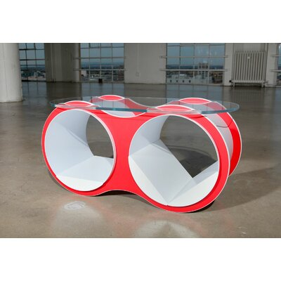 Bolla Pop Coffee Table Base Color: Red, Top Color: Slotted Oval Glass Top