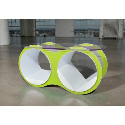 BOLLA 2 Coffee Table Base Color: Scale Green, Top Color: Slotted Oval Glass Top