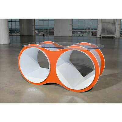 BOLLA 2 Coffee Table Base Color: Tangerine, Top Color: Slotted Oval Glass Top