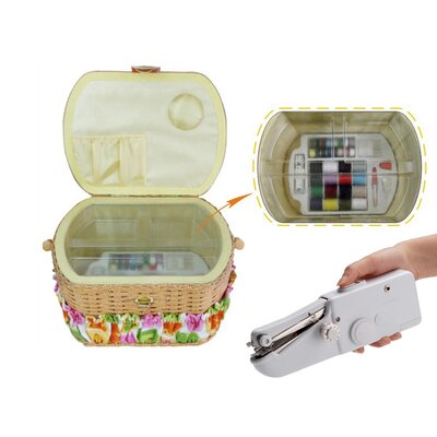 Sewing Basket with 41 Piece Sewing Kit and Handheld Sewing Machine FS-098