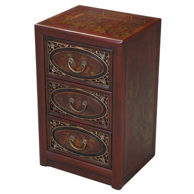 Cheap EXP Decor Handmade Leather End Table with Bas Relief Floral Design (ETX1042)