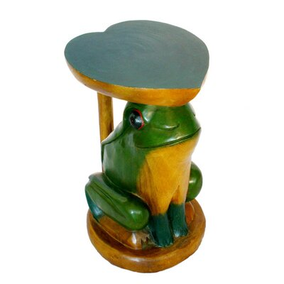 Cheap EXP Decor Handmade Round End Table with Frog and Heart Design and Painted Accents (ETX1056)