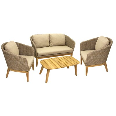 Patterson 4 Piece Teak & Wicker Conversation Set