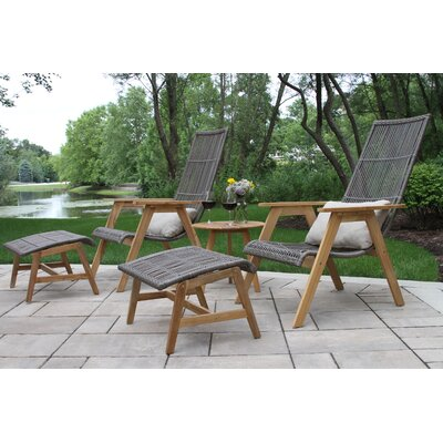 Mardell Teak and Wicker Lounging Ottoman