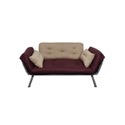 Jema Futon and Mattress Upholstery: Aubergine/Caper