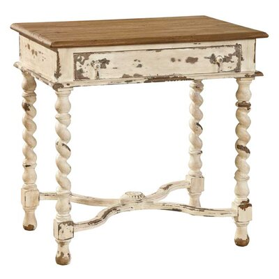 Barley Twist End Table Finish: Antique White/Natural Top