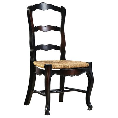 French Country Solid Wood Dining Chair (Set of 2) Color: Ebony Wash-Black Paint/Walnut