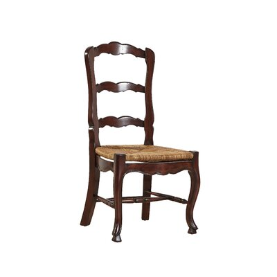 French Country Ladderback Solid Wood Dining Chair (Set of 2) Finish: Walnut Brown on Mahogany