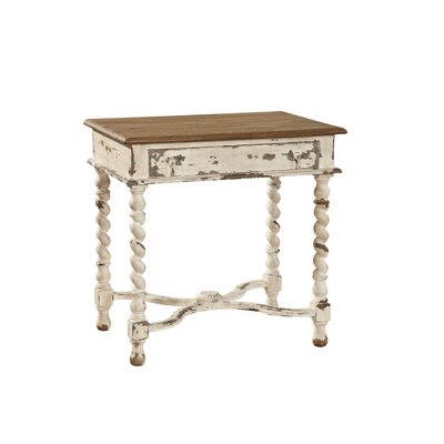 Barley Twist End Table with Storage Color: Antique White/Natural Top
