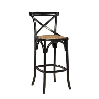 Bentwood 30.5 Bar Stool (Set of 2) Color: Gloss Black/Light Wood