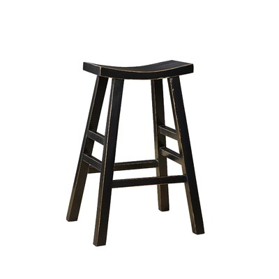 Edwards Bay 30 Bar Stool (Set of 2) Finish: Gloss Black/Light Wood