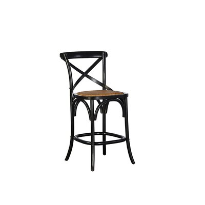 Bentwood 24 Bar Stool (Set of 2) Finish: Gloss Black/Light Wood