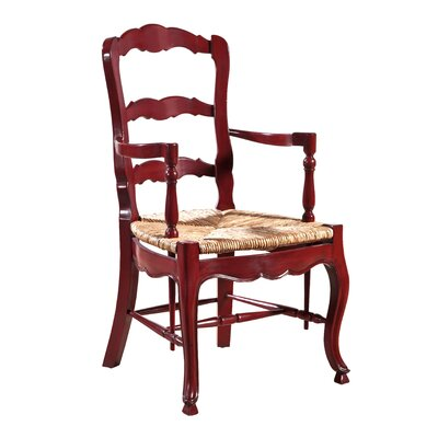 French Country Ladderback Arm Chair (Set of 2) Color: Red