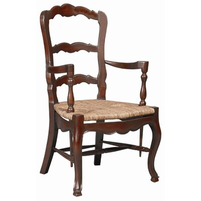 French Country Ladderback Arm Chair (Set of 2) Color: Walnut Brown on Mahogany
