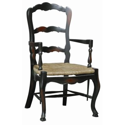 French Country Ladderback Arm Chair (Set of 2) Color: Ebony Wash-Black Paint/Walnut