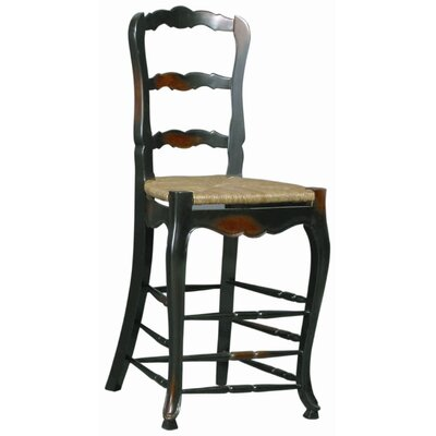 Bar Stool (Set of 2) Frame Finish: Ebony Wash-Black Paint/Walnut