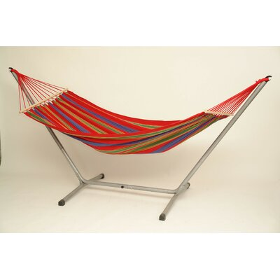 Aruba Jet Cotton Hammock with Stand Color: Red