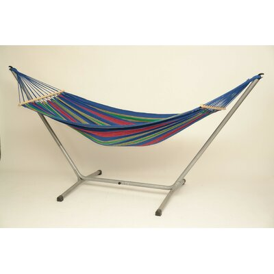 Aruba Jet Cotton Hammock with Stand Color: Blue