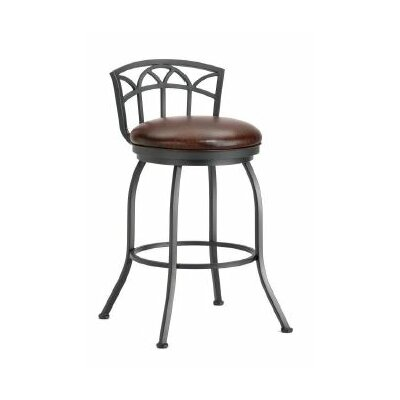 Fiesole 26 Swivel Bar Stool Finish: Black, Upholstery: Alligator Brown