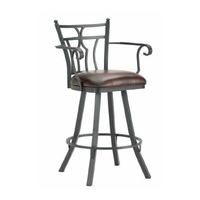 Randle 26 Swivel Bar Stool Finish: Black, Upholstery: Alligator Brown
