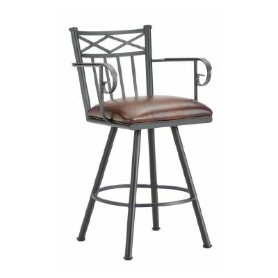 Alexander 30 Swivel Bar Stool Color: Black, Upholstery: Alligator Brown