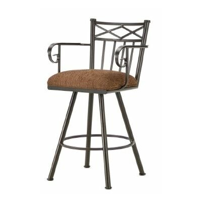 Alexander 26 Swivel Bar Stool Finish: Rust, Upholstery: Radar Nugget