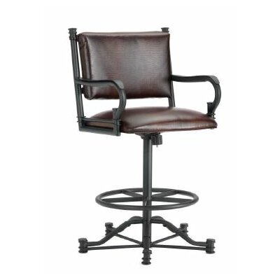 Baltimore 26 Swivel Bar Stool Color: Black, Upholstery: Alligator Brown
