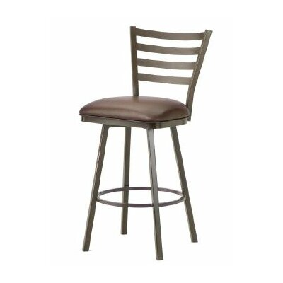 Tioga 26 inch Swivel Bar Stool Finish: Rust, Upholstery: Ford Brown