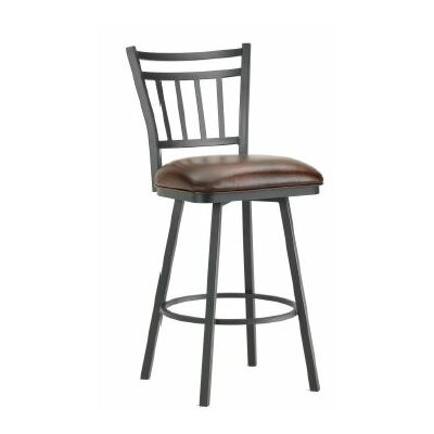 Emma 26 inch Swivel Bar Stool Finish: Black, Upholstery: Alligator Brown