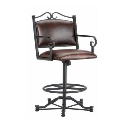 Sherwood 26 Swivel Bar Stool Finish: Black, Upholstery: Alligator Brown