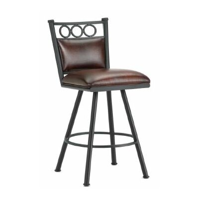 Waterson 30 inch Swivel Bar Stool Finish: Black, Upholstery: Alligator Brown
