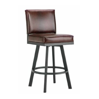 Pasadena 26 inch Swivel Bar Stool Finish: Black, Upholstery: Alligator Brown
