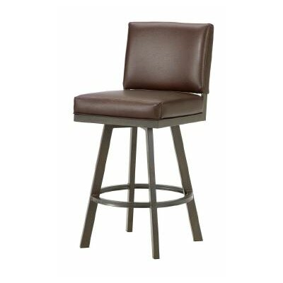 Pasadena 26 Swivel Bar Stool Color: Rust, Upholstery: Ford Brown