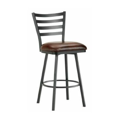 Tioga 26 Swivel Bar Stool Finish: Black, Upholstery: Alligator Brown