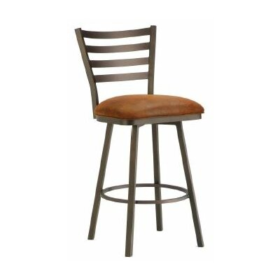 Tioga 26 Swivel Bar Stool Color: Inca / Bronze, Upholstery: Mayflower Cocoa