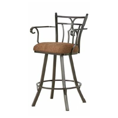 Randle 26 Swivel Bar Stool Finish: Rust, Upholstery: Radar Nugget