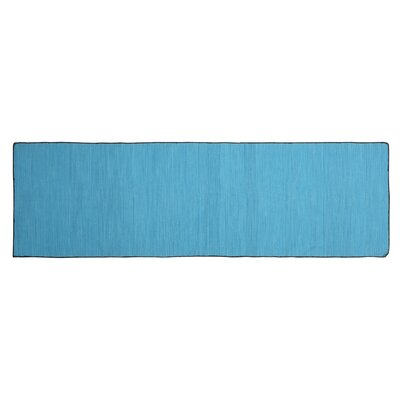 One-of-a-Kind Alonzo Hand-woven Cotton Blue Area Rug