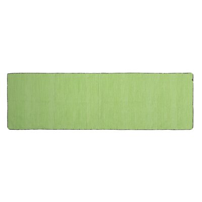 One-of-a-Kind Alonzo Hand-woven Cotton Green Area Rug