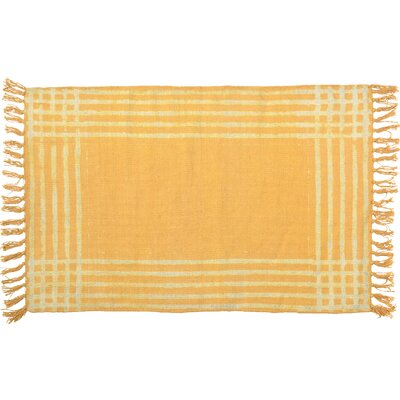 One-of-a-Kind Otterbein Hand-woven Cotton Yellow/White Area Rug