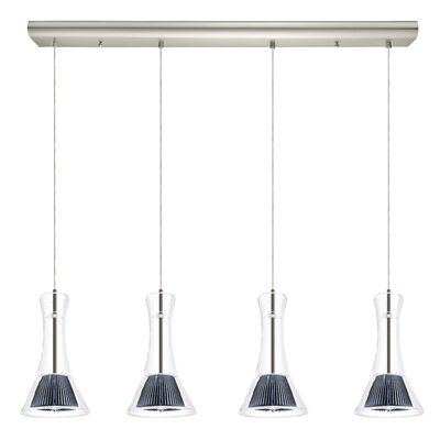 Amanda 4-Light Kitchen Island Pendant Shade Color: Clear
