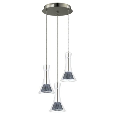 Amanda 3-Light Cascade Pendant Shade Color: Clear