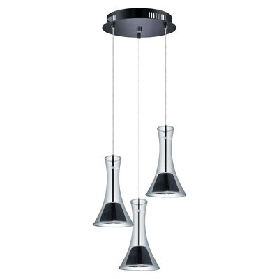 Amanda 3-Light Cascade Pendant Shade Color: Smoke