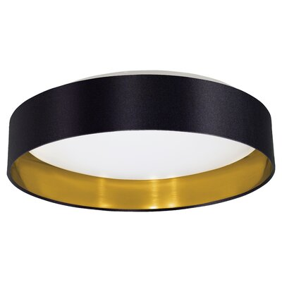Newville 1-Light Flush Mount Shade Finish: Black/Gold
