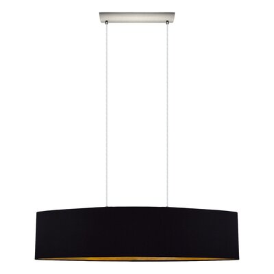Newville 2-Light Wire Drum Pendant Shade Color: Black/Gold