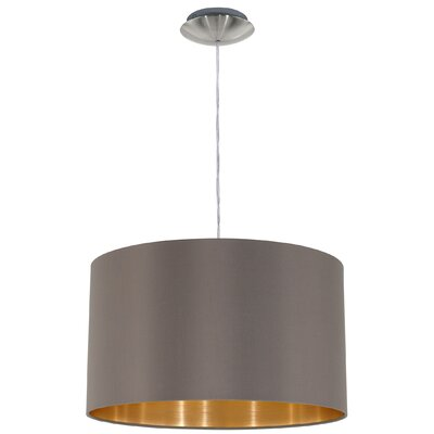 Newville 1-Light Drum Pendant Shade Color: Cappucino/Gold