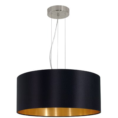 Newville 3-Light Drum Pendant Shade Color: Black/Gold